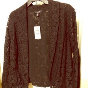 Fitted black lace blazer